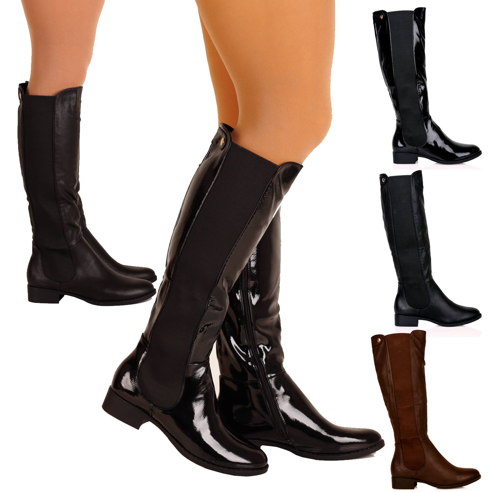 Knee-high boots are boots that rise to the knee, or slightly thereunder. They are generally tighter around the leg shaft and ankle than at the top. Originally made of .