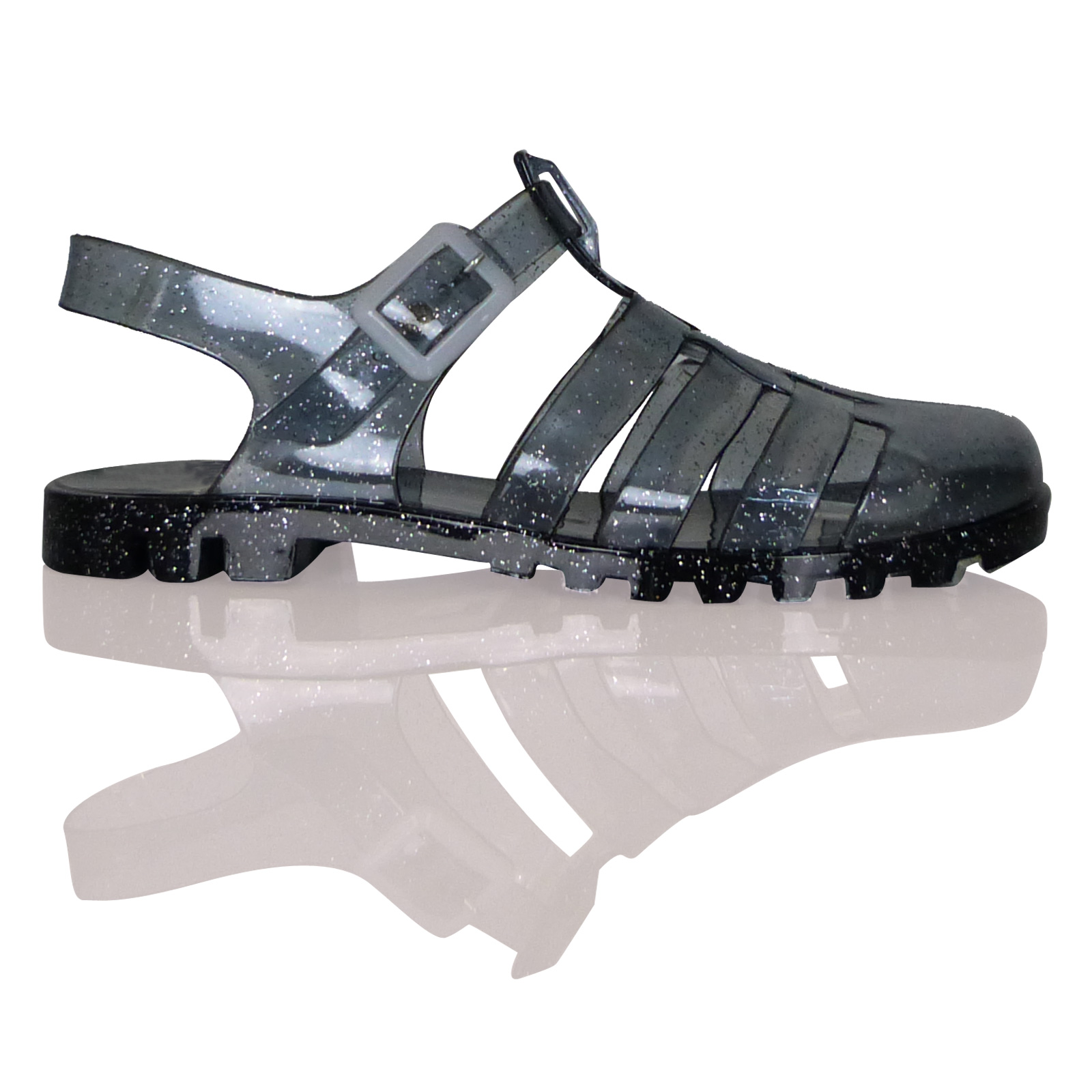 D1Y Womens Ladies Flat Ankle Strap Buckle Summer Jelly Sandals Casual Shoes Size