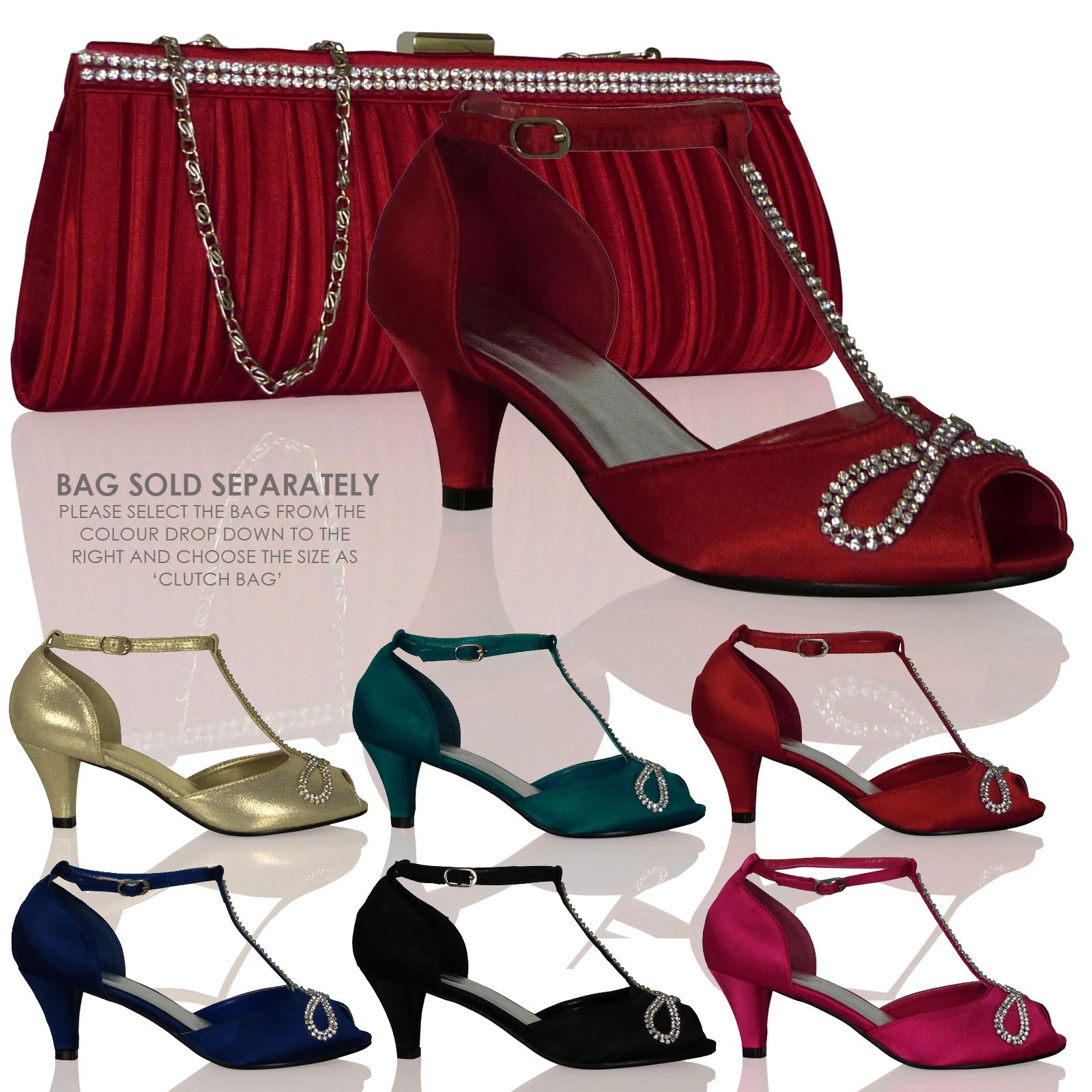 Y2F Womens Heels Ladies Shoes Low Mid Bridal Wedding Bag New T-Bar Diamante Size