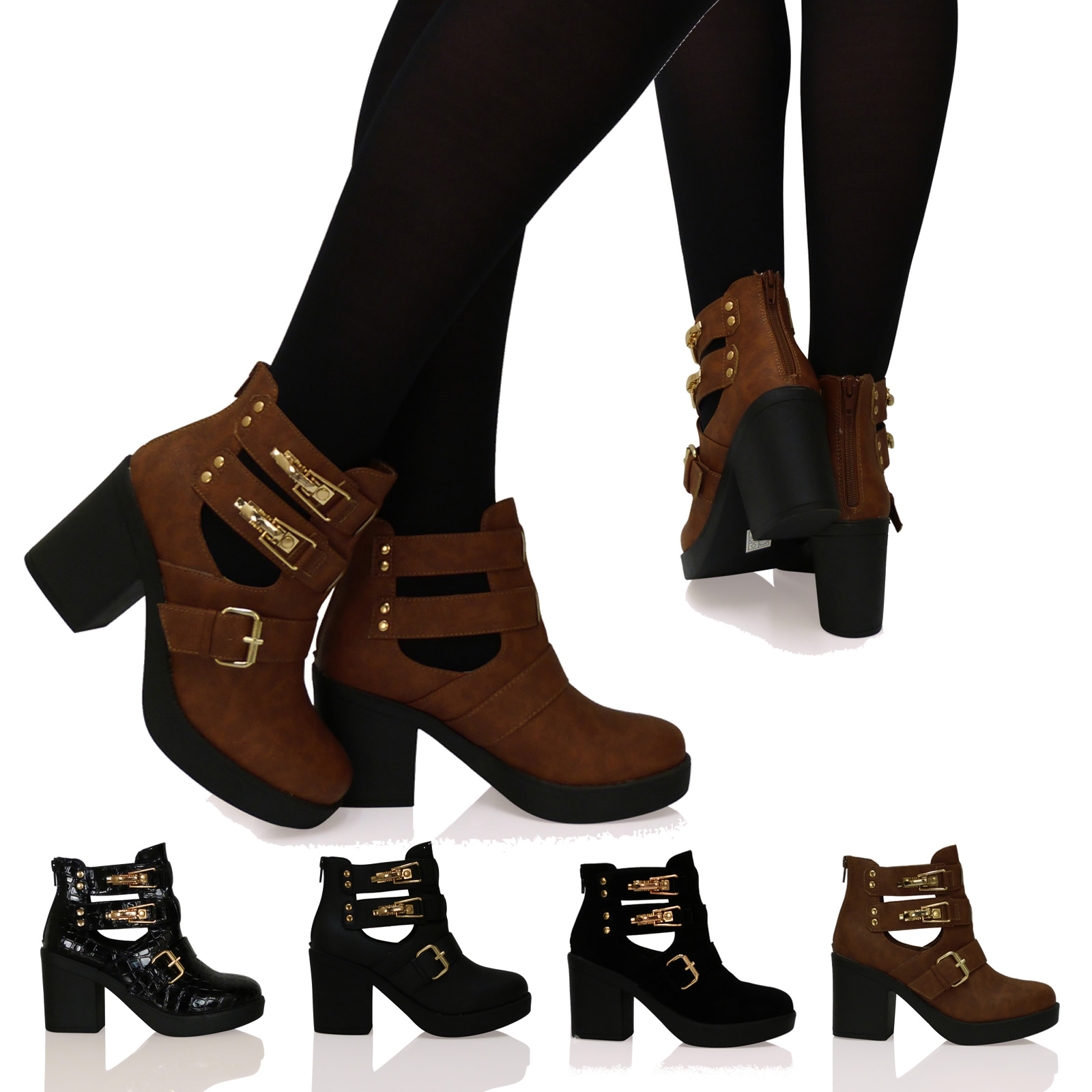 A3M Womens Boots Ladies Ankle Booties Cut Out Mid Heels Block Zip Up Shoes Size
