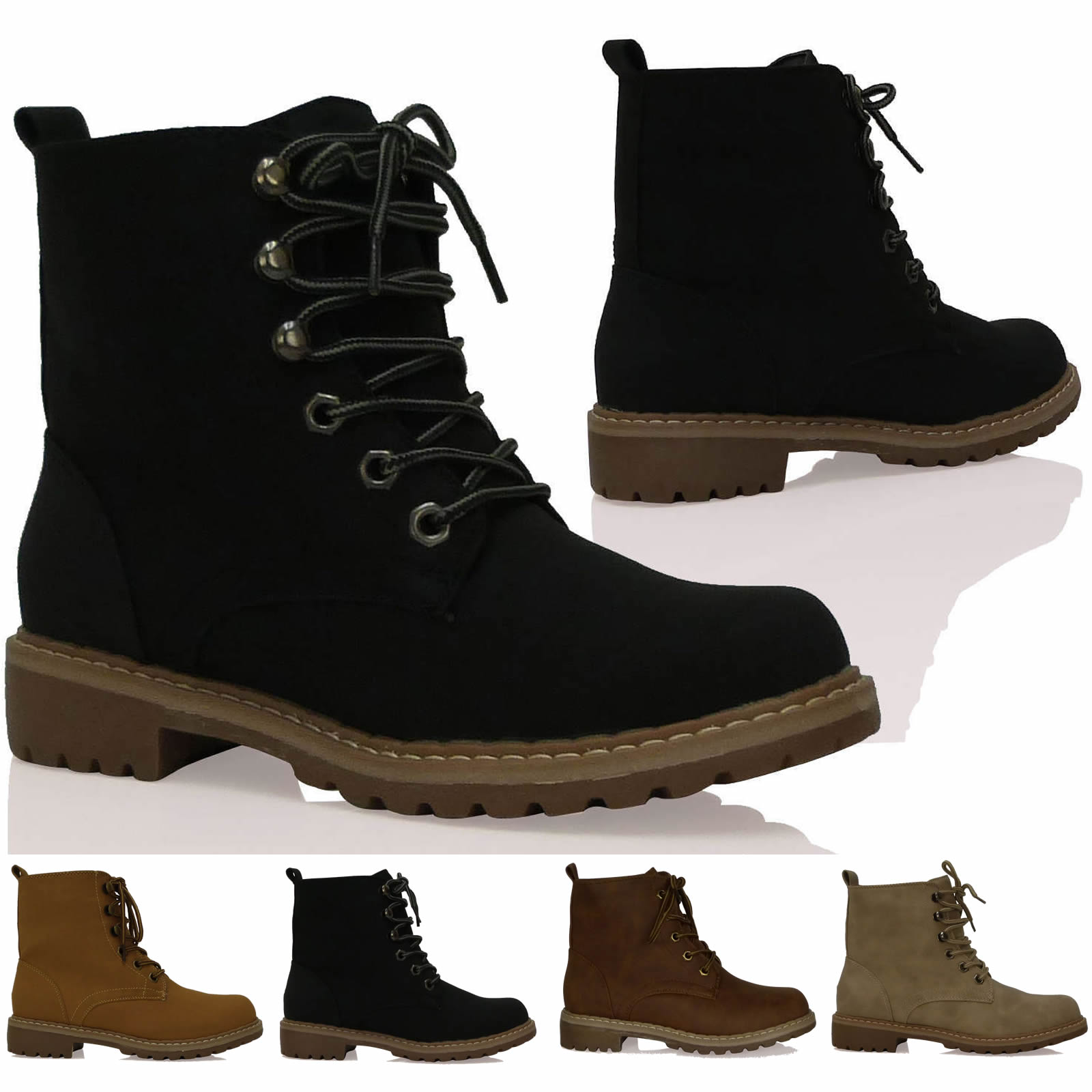 A6B Womens Boots Ladies Ankle Lace Ups Military Army Desert Combat Shoes Size