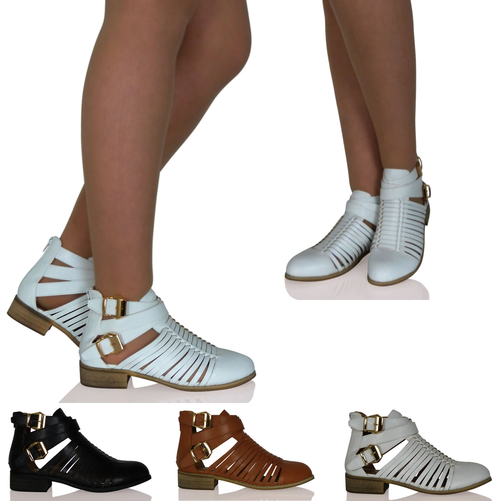 New Womens Ladies Cut-Out Strappy Gold Buckle Zip Up Ankle Booties Shoes Size