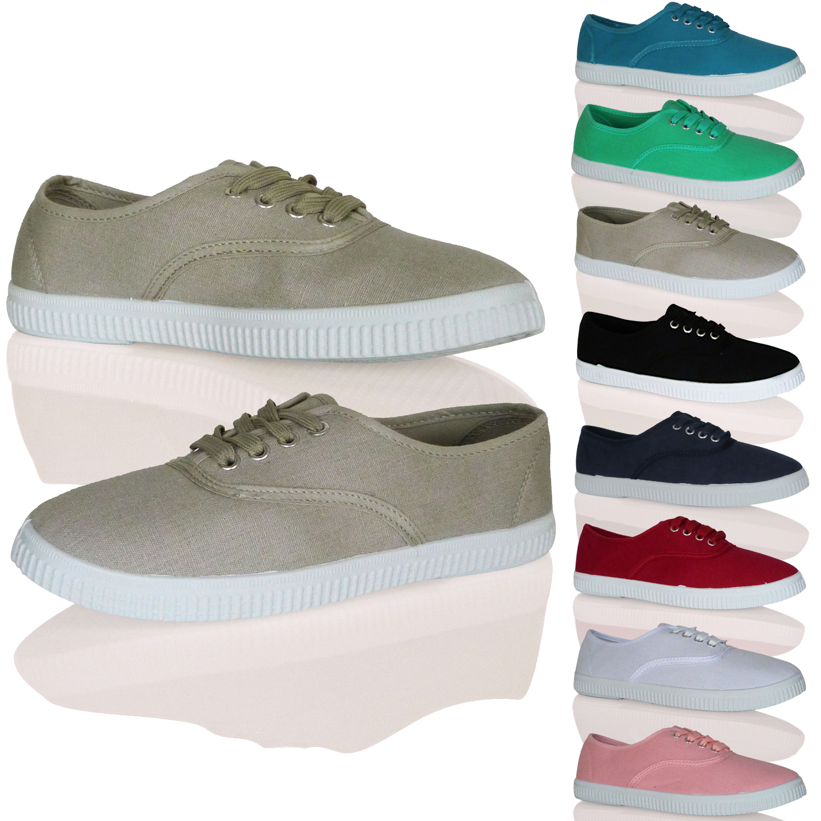 WOMENS LADIES TRAINERS SNEAKERS CLASSIC PUMPS LACE UP PLIMSOLES CANVAS NEW SIZE