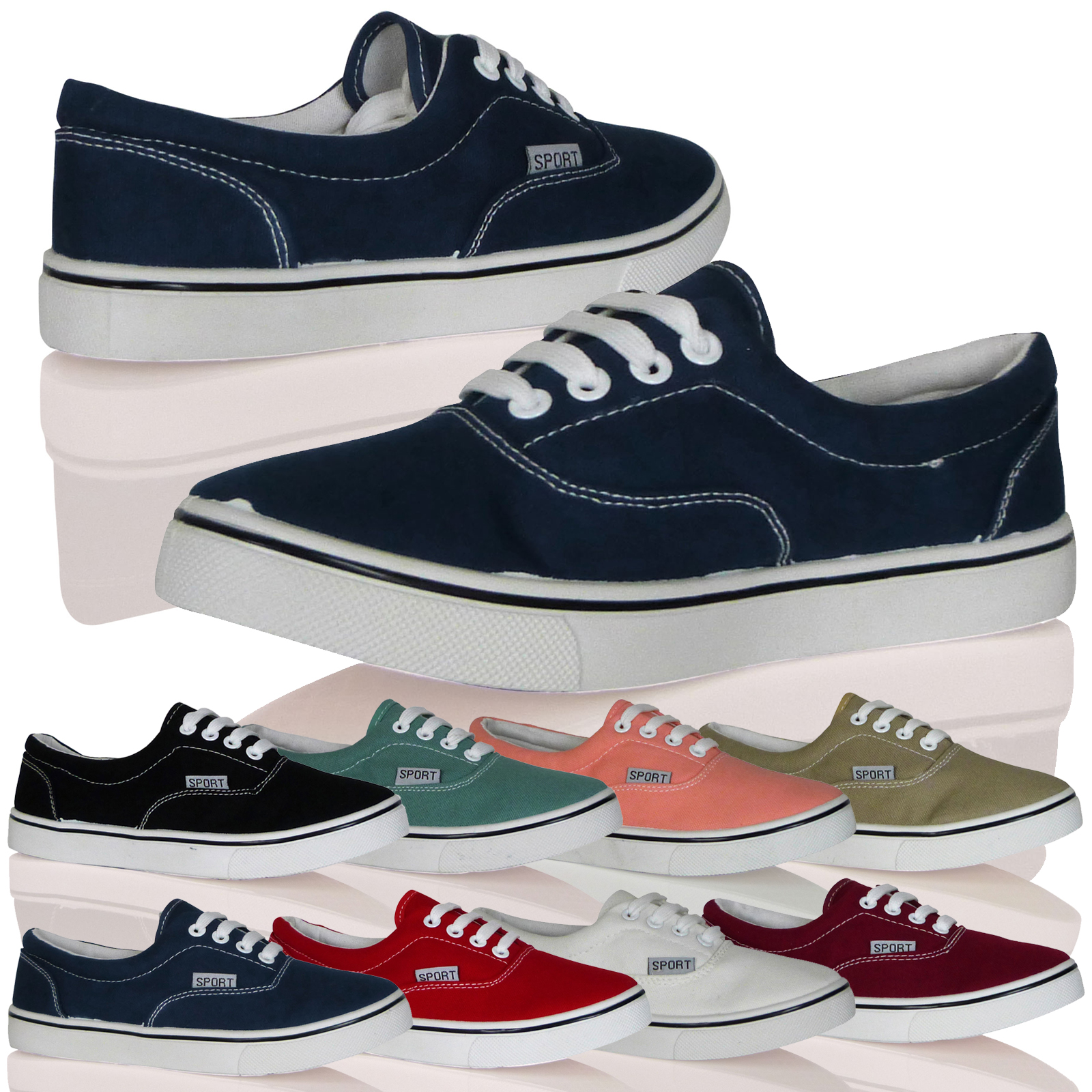 WOMENS LADIES TRAINERS SNEAKERS LACE UPS CANVAS PLIMSOLES FASHION PUMPS NEW SIZE