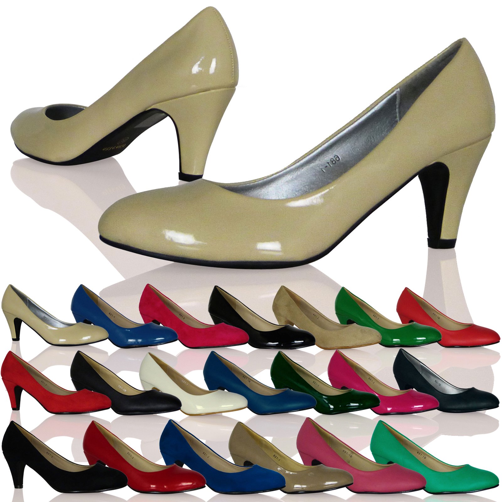 WOMENS SHOES LADIES HEELS COURT OFFICE LOW MID SMART WORK PUMPS SLIP ON NEW SIZE