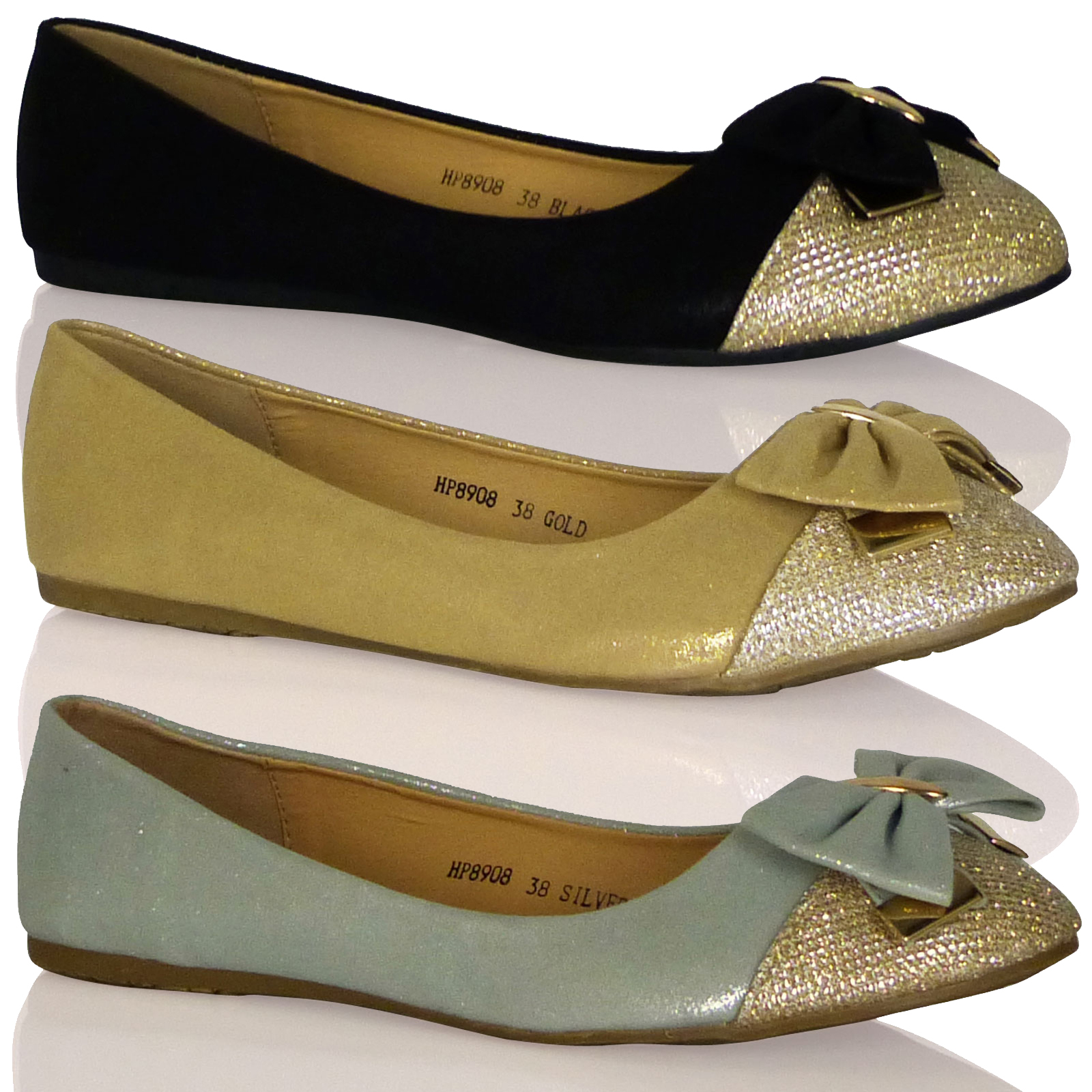 F3F New Womens Flats Shoes Ballerinas Casual Bow Girls Ladies Ballet Pumps Size