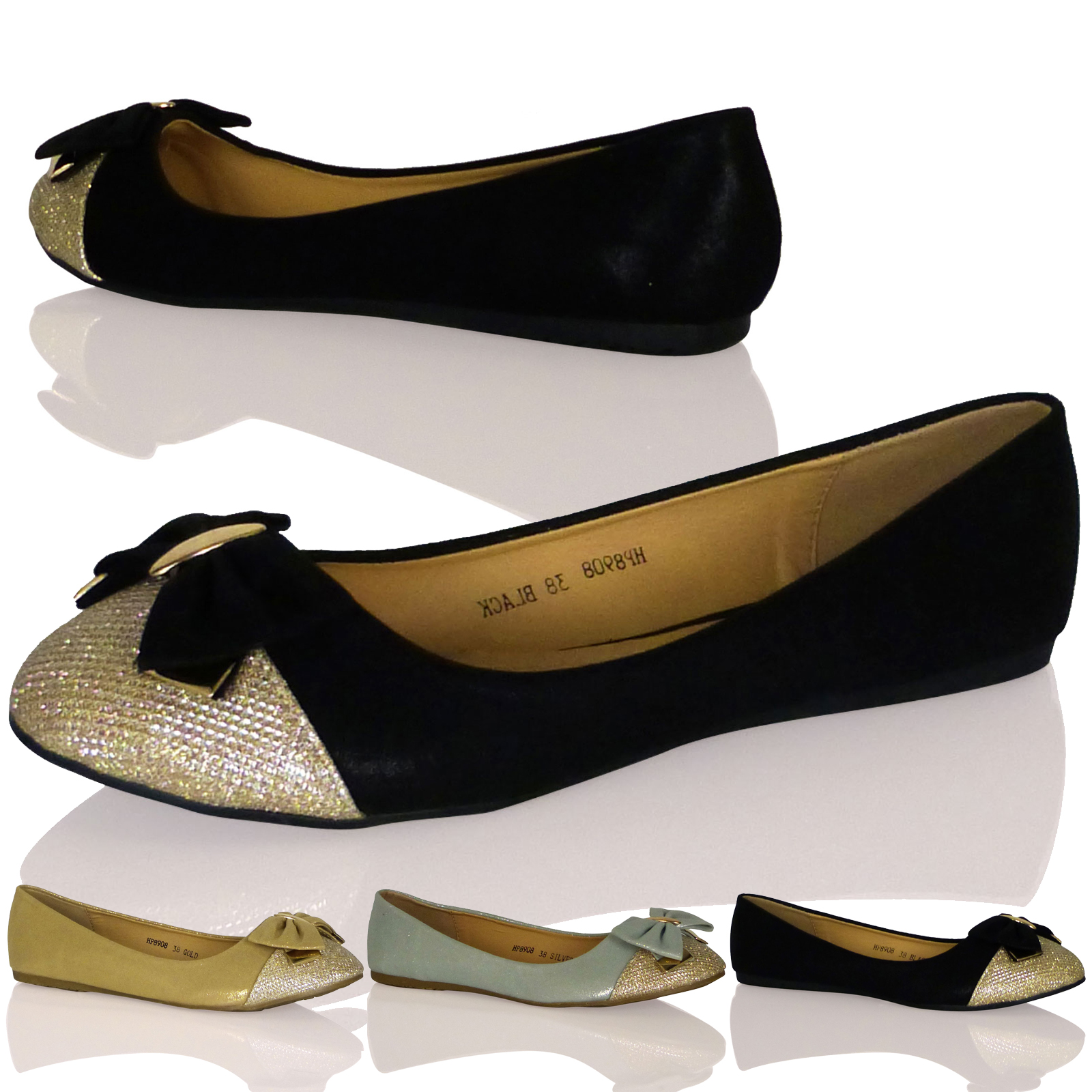 WOMENS LADIES BALLET FLATS BALLERINAS GOLD METALLIC TOE BOW SHOES NEW SIZE PARTY
