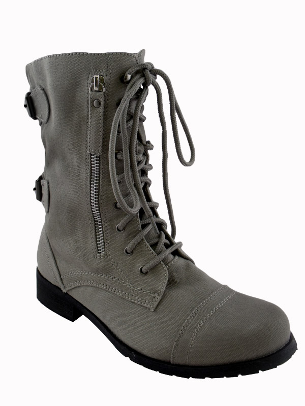 Creative Details About WOMENS MILITARY ARMY GREY STUDDED COMBAT BOOTS SIZE