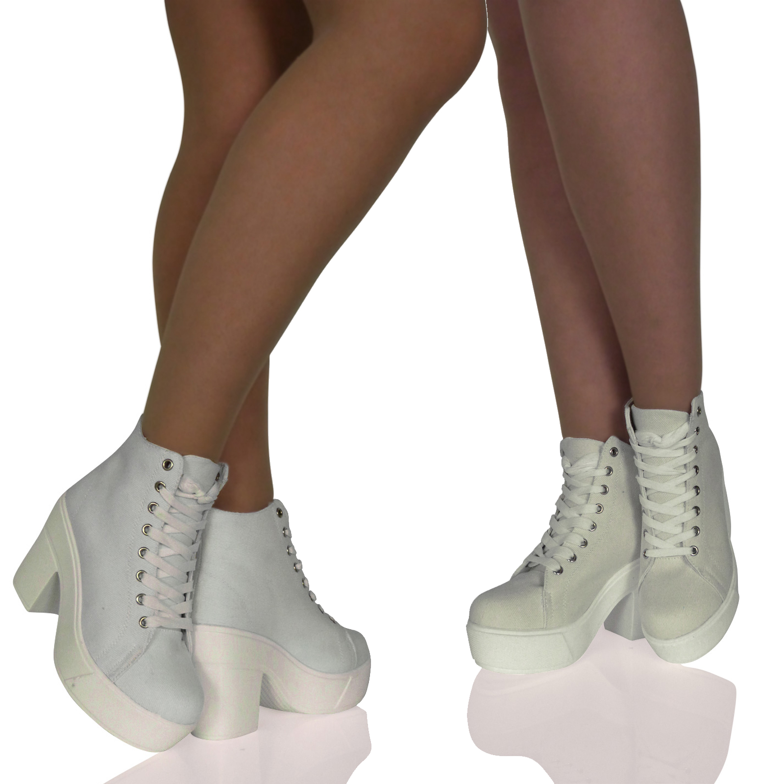 A6A Womens Boots Ladies Shoes Ankle Block Chunky Heels Lace Ups Summer New Size