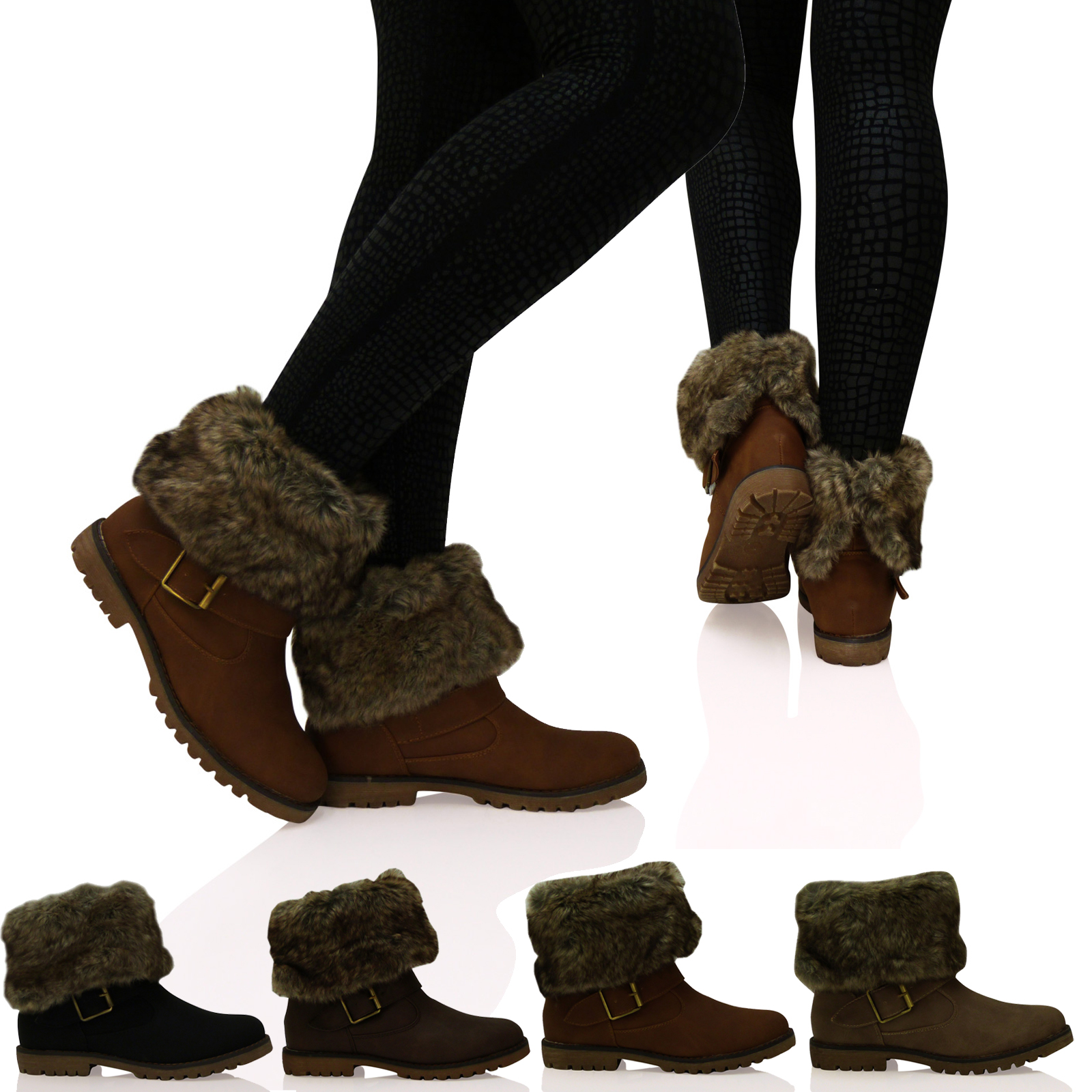 S2H Womens Boots Ladies Fur Lined Pull On Collar Ankle Down Ankle ...