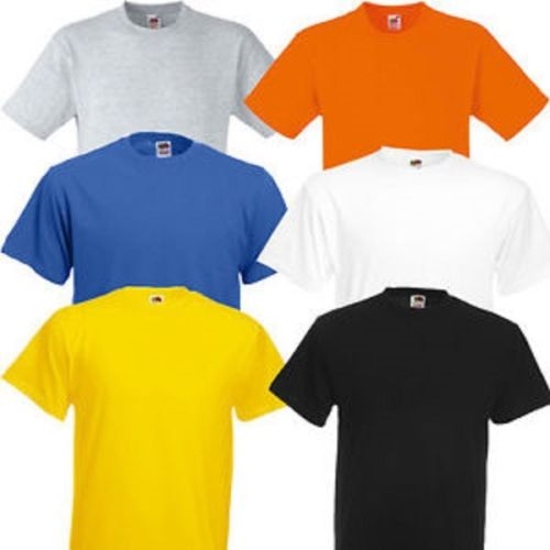 Fruit of the Loom Heavy Cotton Plain T Shirt Summer Pack Of 5 Short Sleeved M3