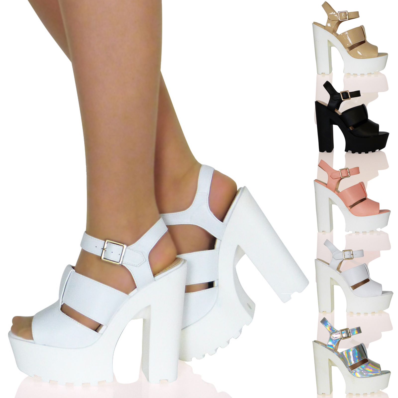WOMENS SHOES LADIES SANDALS HIGH HEELS BLOCK CHUNKY PLATFORM SUMMER STRAPPY SIZE