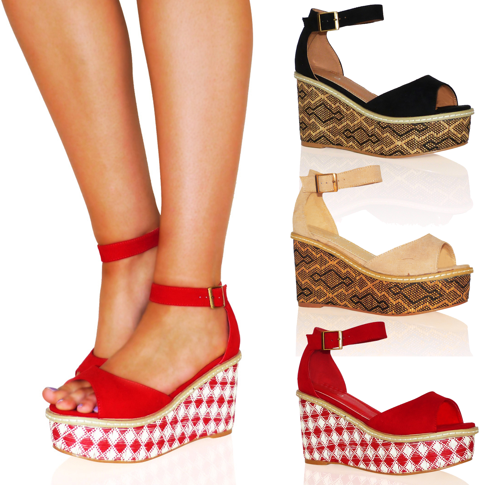 D9X WOMENS SANDALS LADIES SHOES PLATFORMS WEDGES FLATFORMS SUMMER BUCKLE NEW