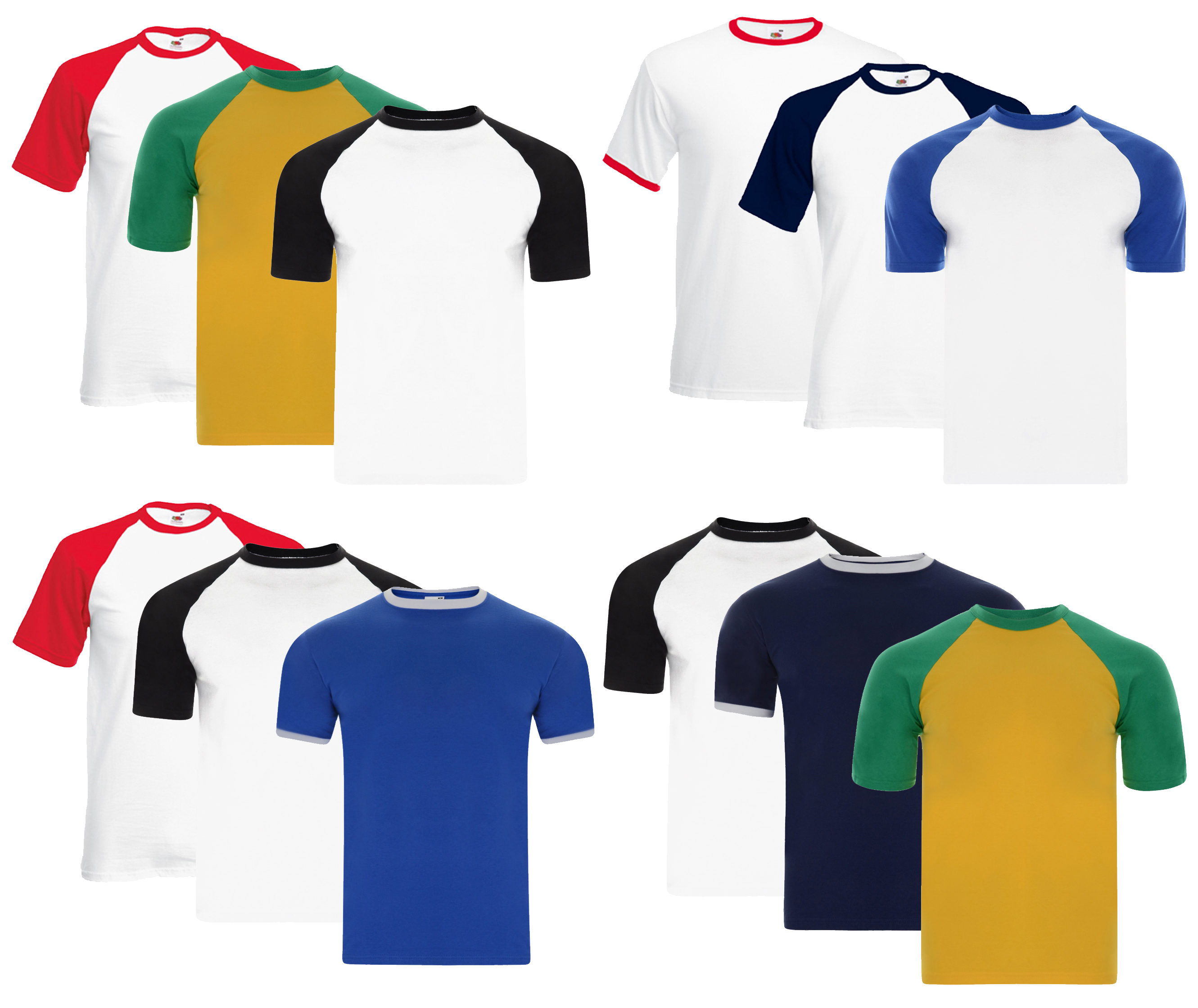 Mens Fruit of the Loom Baseball & Ringer Cotton T Shirt Top Casual Pack of 3 New