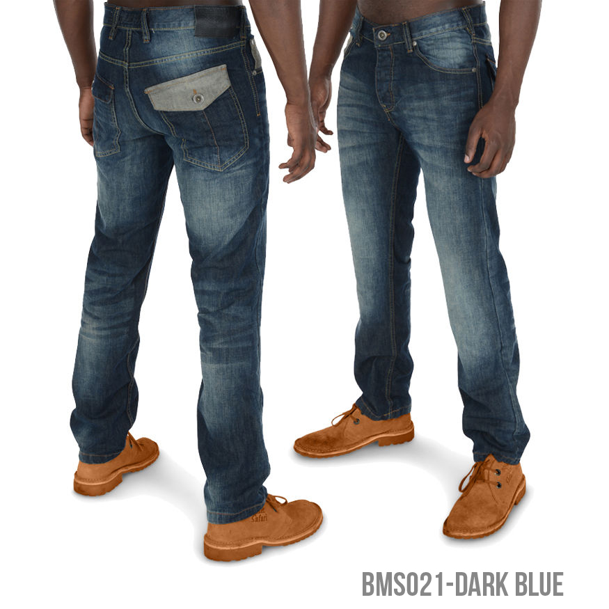 Mens Threadbare Designer Jeans Straight Leg Casual Fashion Denim Wash Dark Blue