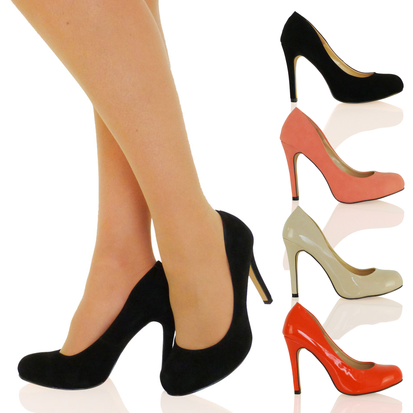 WOMENS SHOES LADIES COURT ROUND TOE WORK OFFICE SMART HIGH HEELS SLIM NEW SIZE
