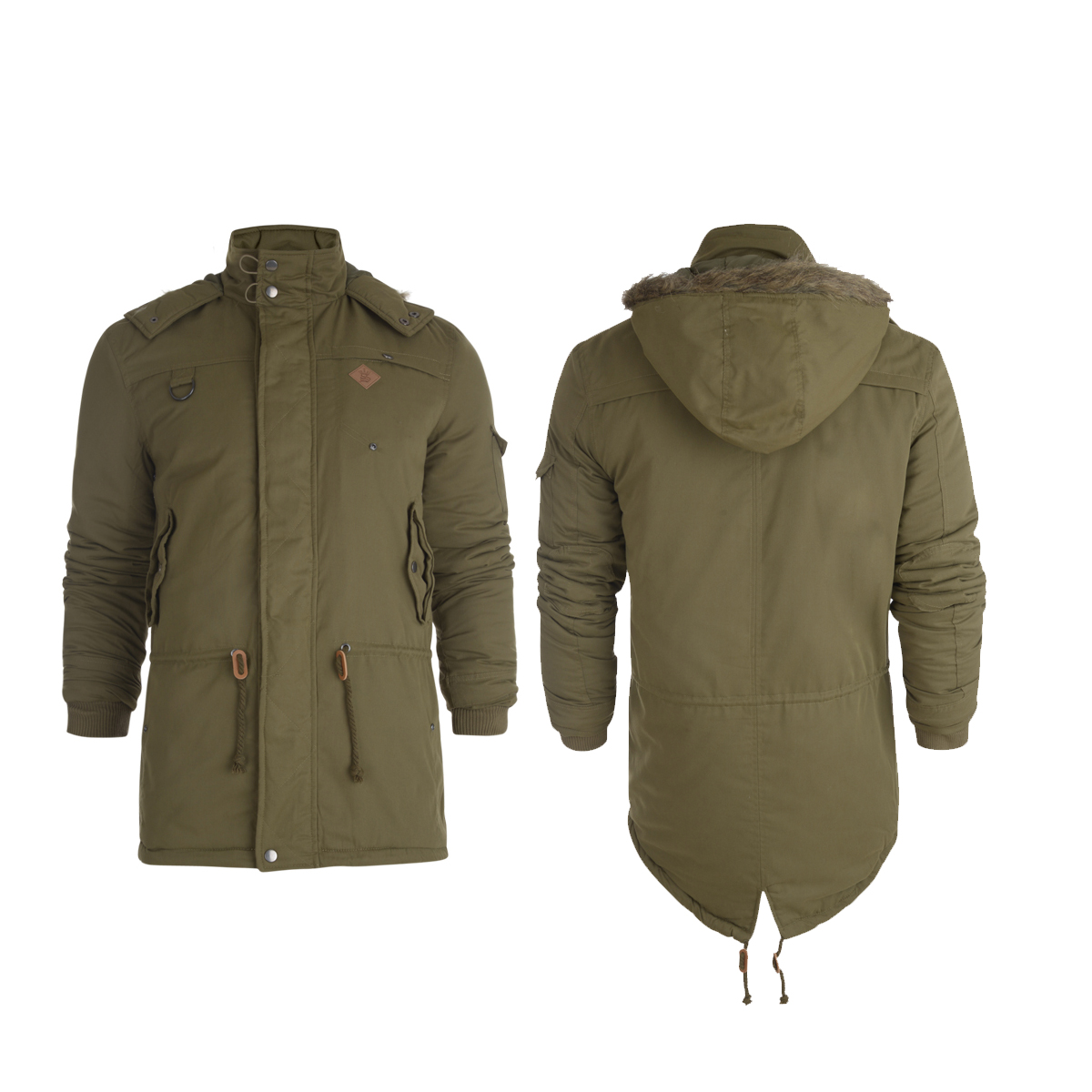 New Mens Soul Star Khaki Green Fishtail Parka Jacket Coat Casual ...