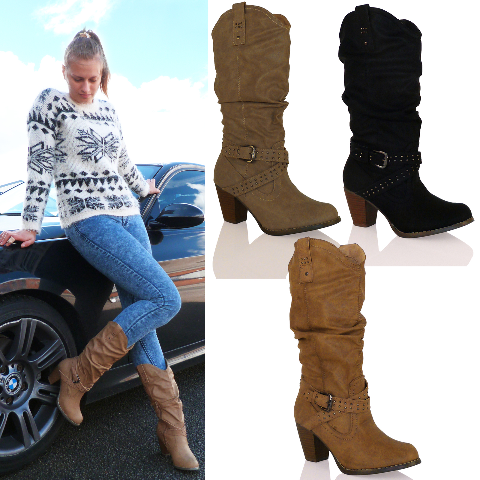 d3y womens mid high heel cowboy western mid calf boots. Black Bedroom Furniture Sets. Home Design Ideas