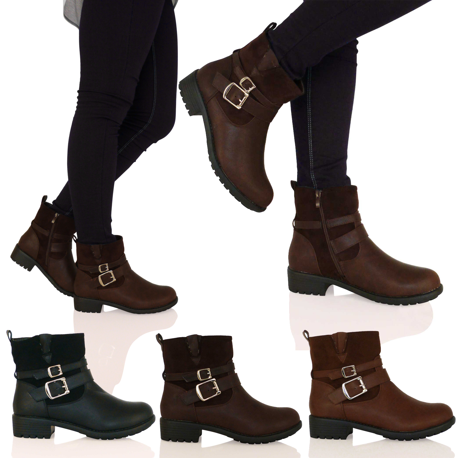 d7f new womens flat biker ankle boots low cut buckle zip