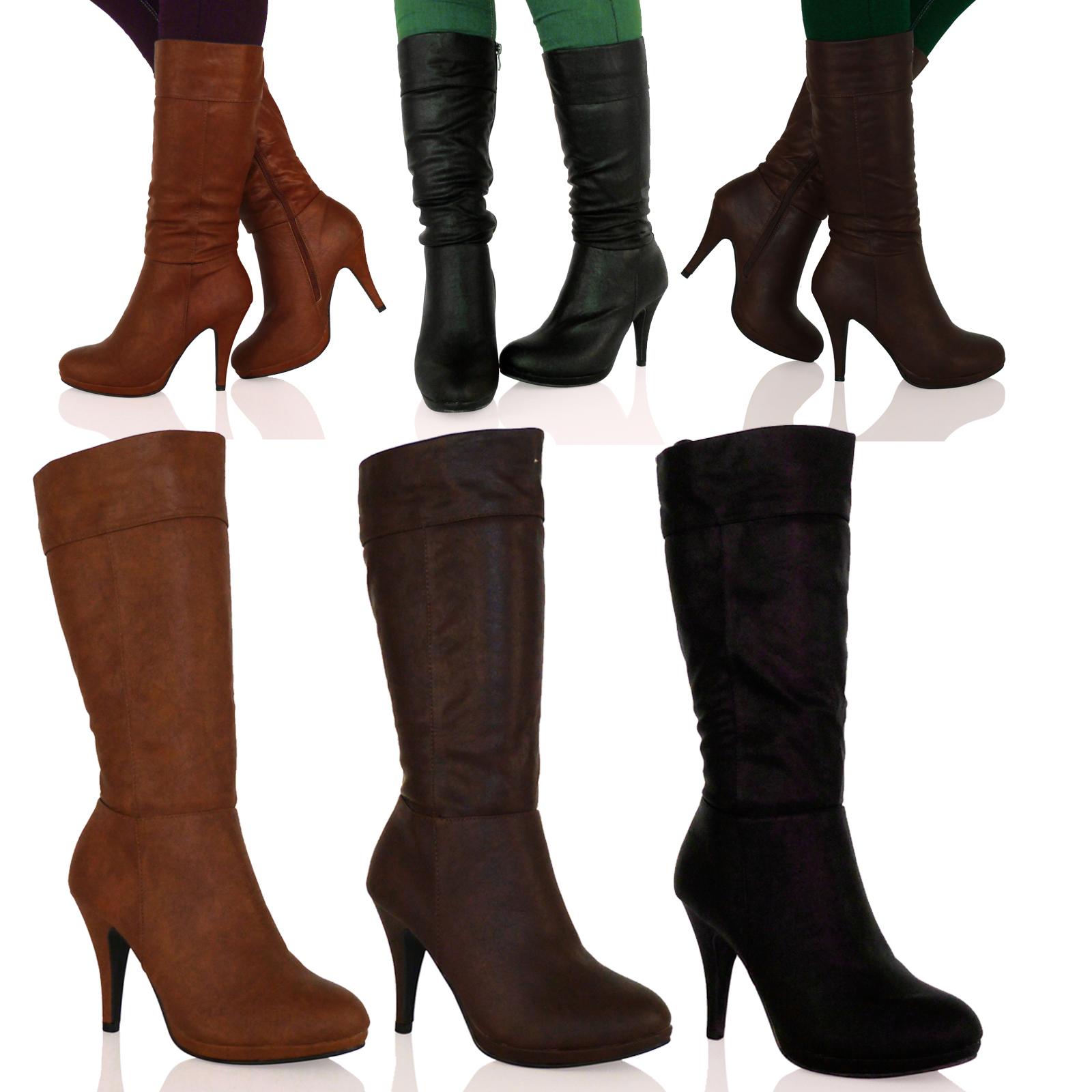 D8Z Womens Mid High Stiletto Heel Mid Calf Under Knee Boots ...