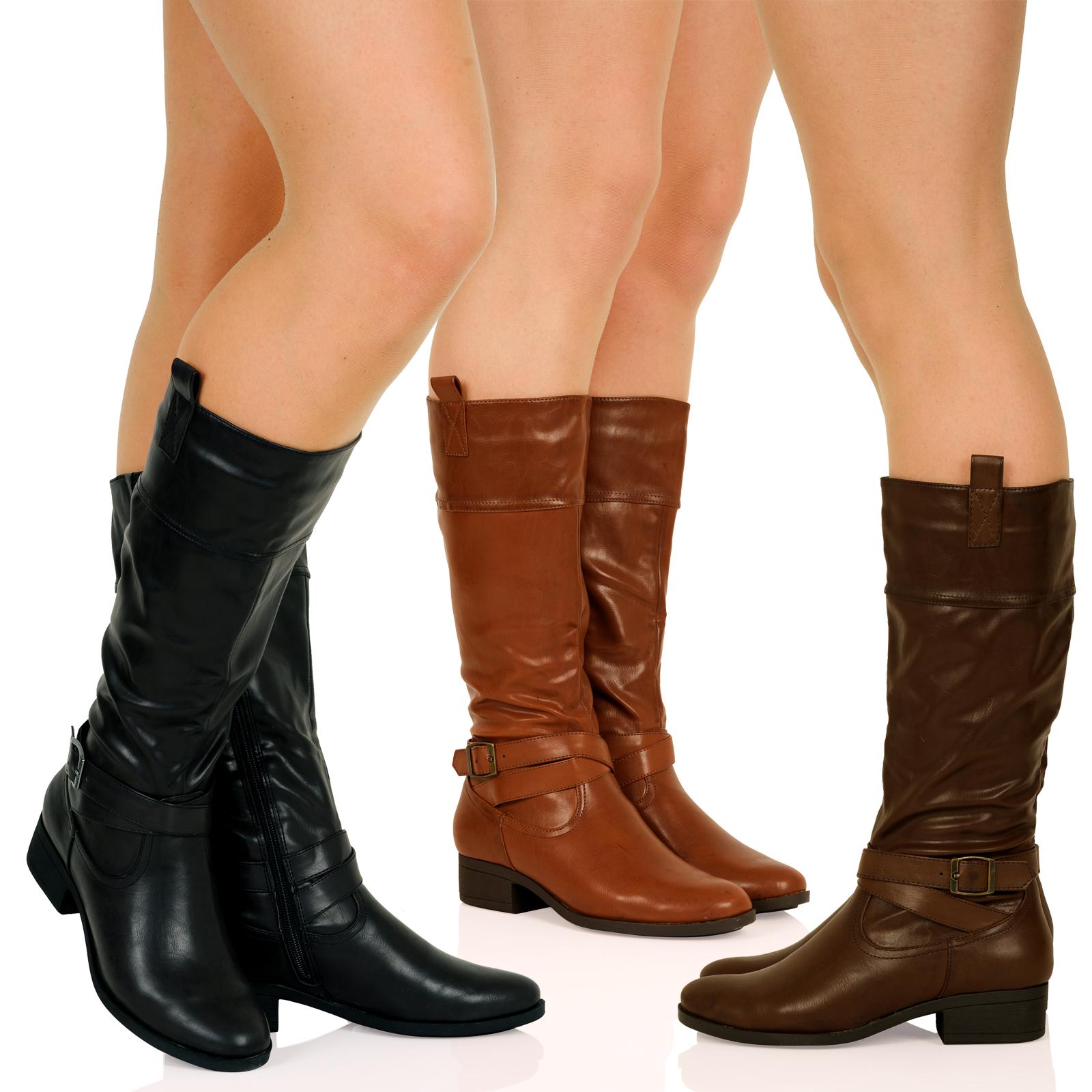 d8z womens low heel biker mid calf knee boots winter
