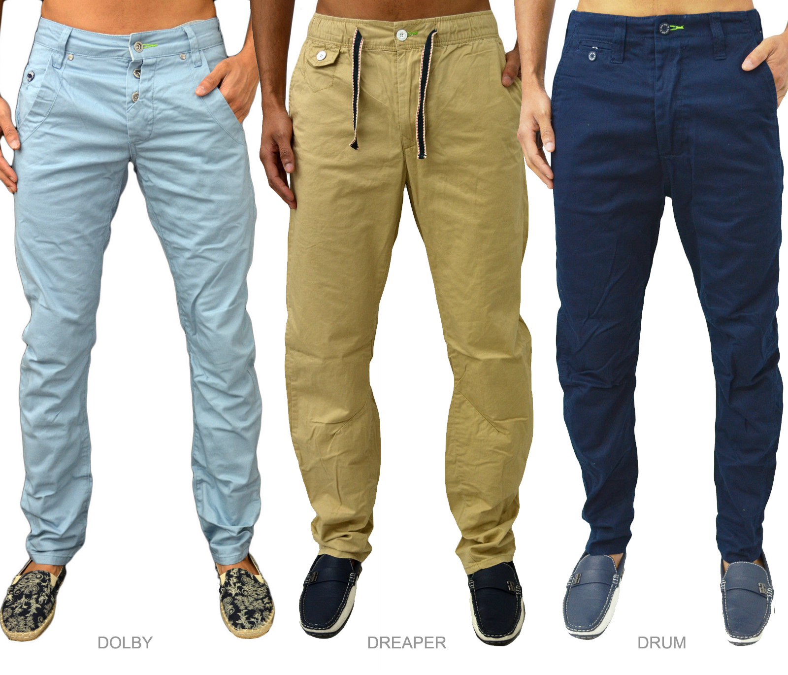 New Mens Designer Gio Goi Loose Carrot Fit Chino Trousers Fashion ...