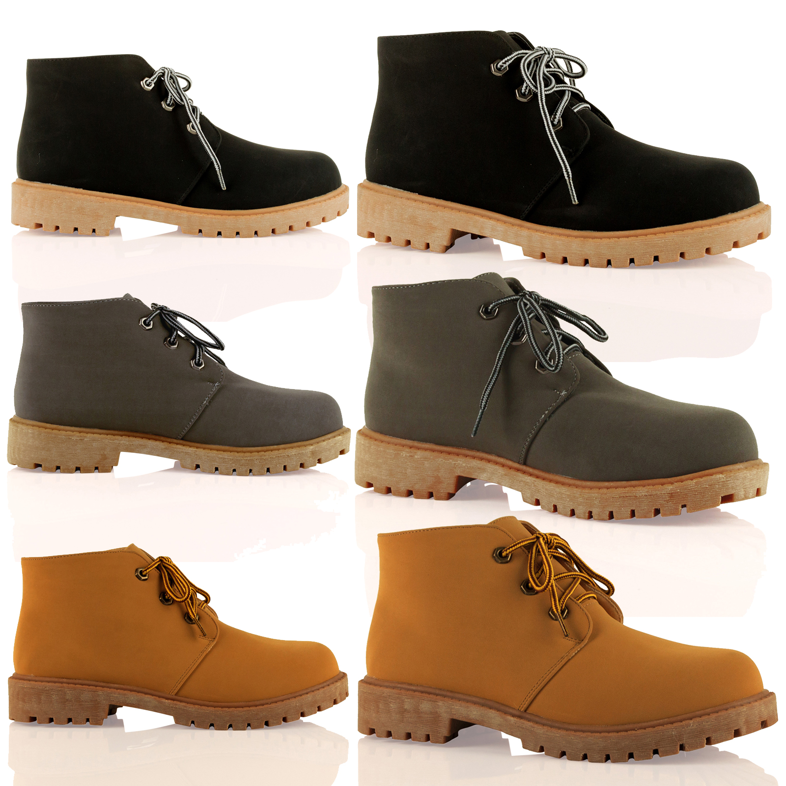 d2y womens flat chunky sole lace up ankle boots worker