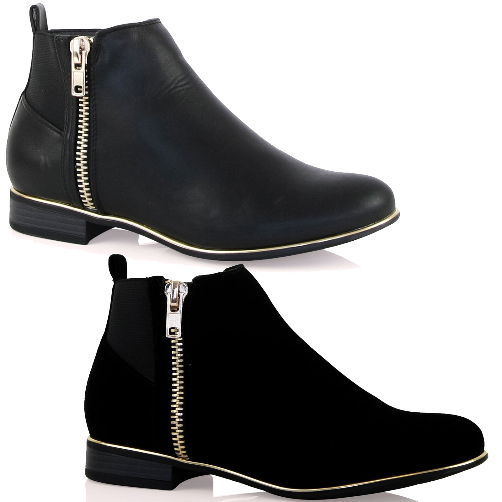 a12 new womens flat fashion zip detail ankle boots gold