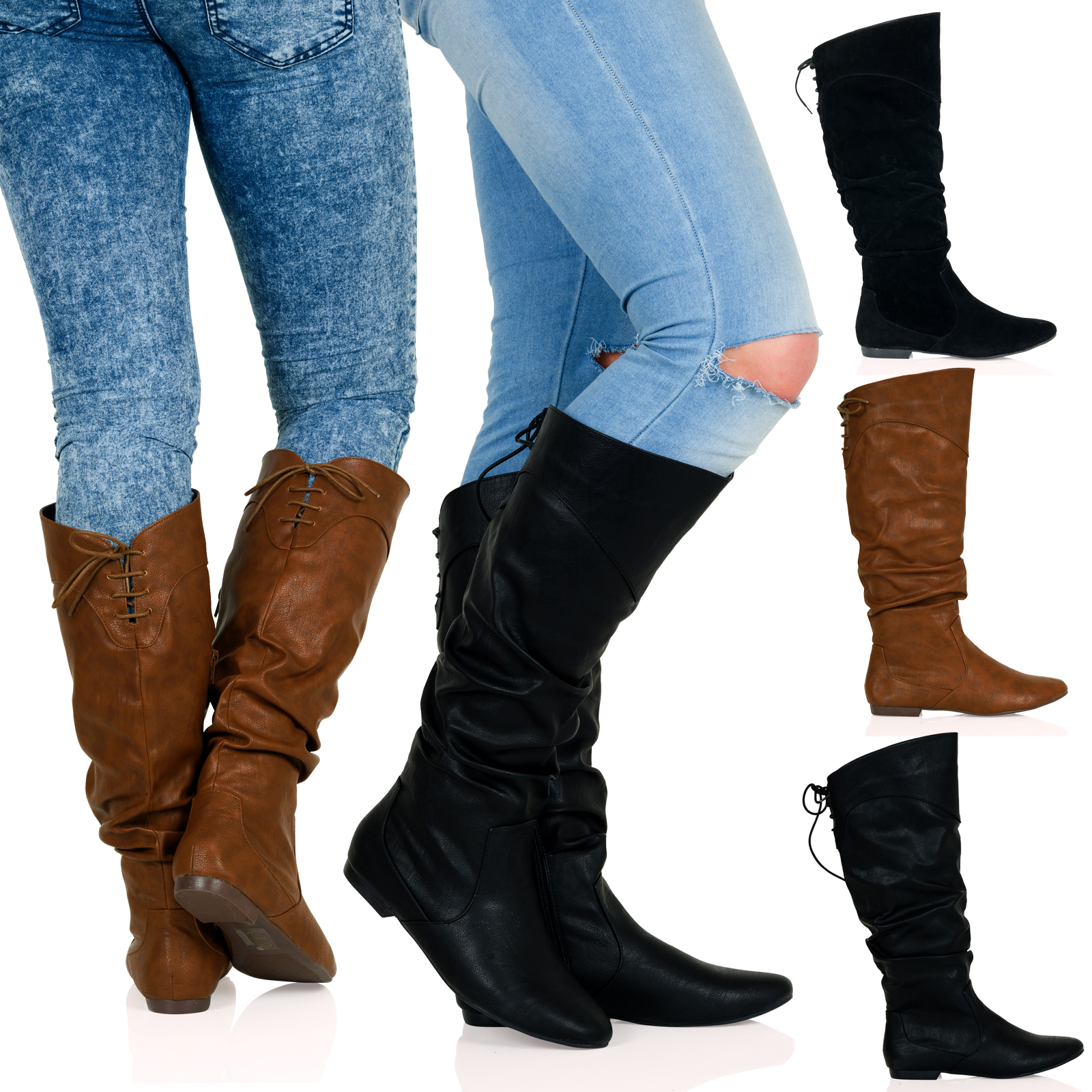 WOMENS BOOTS LADIES MID CALF CLASSIC FLAT LOW HEEL ZIP UP SLOUCH ...