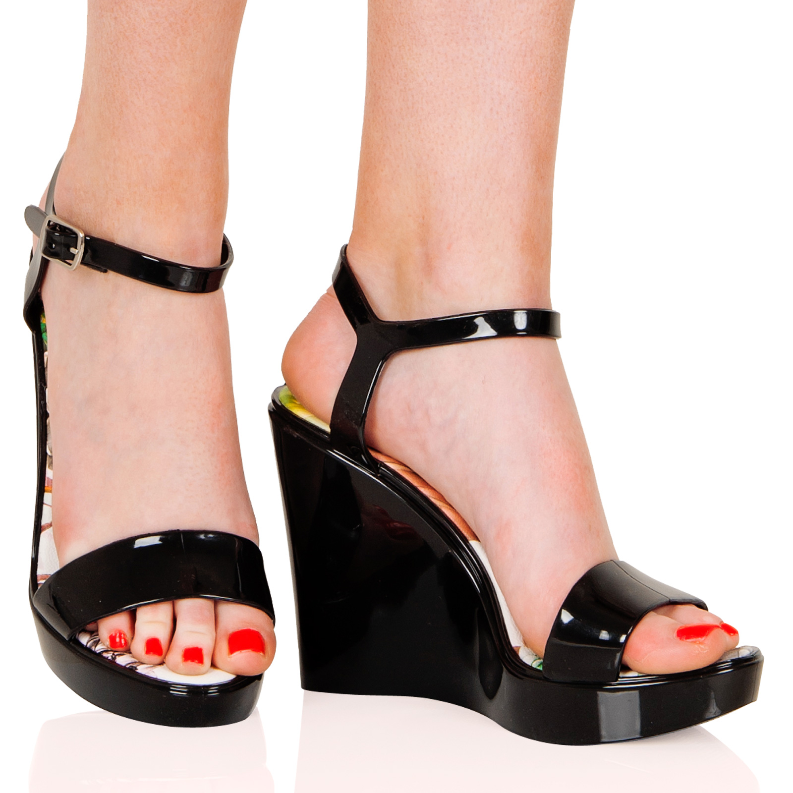 womens shoes wedges open toe buckle jelly high
