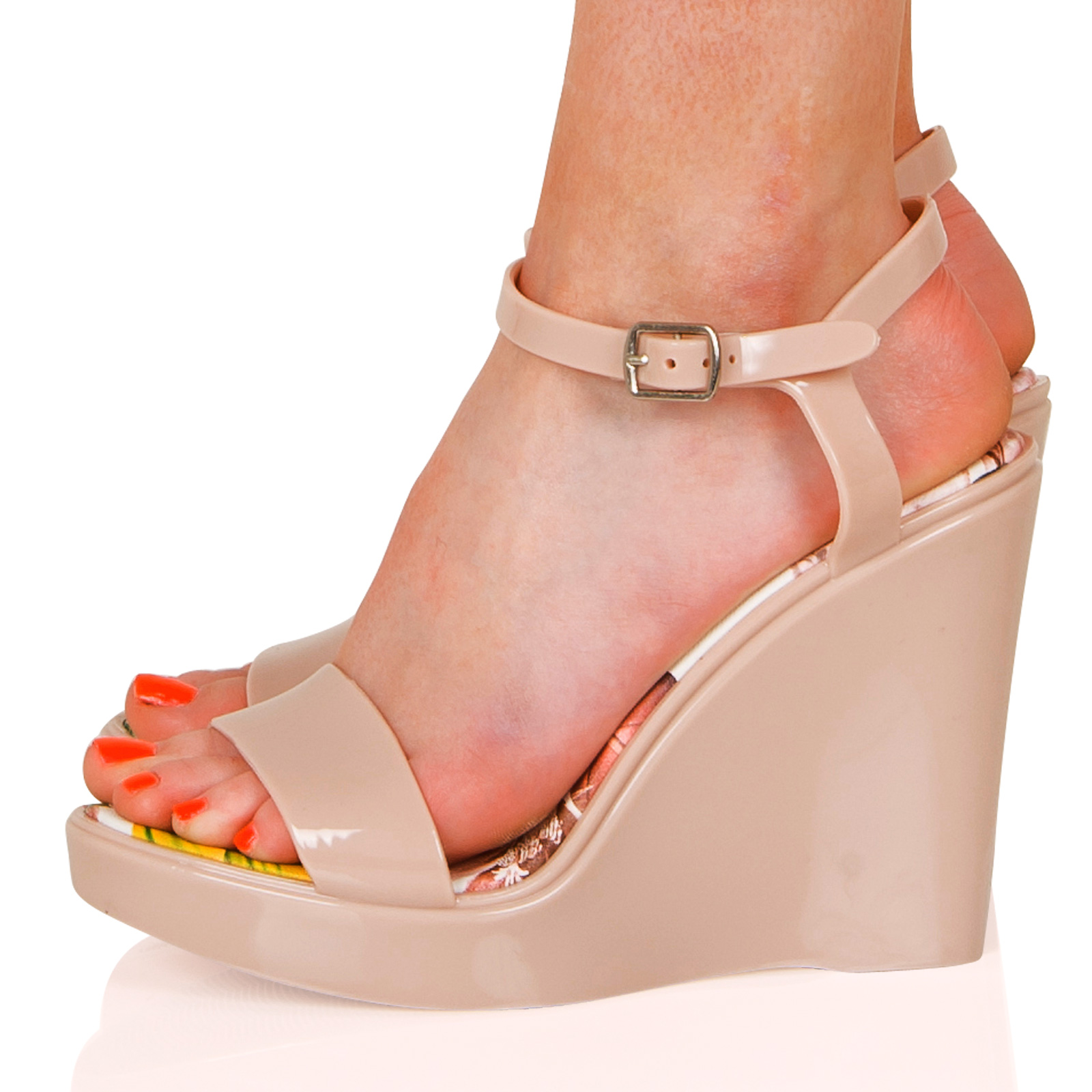 b17fdf841ed WOMENS SHOES LADIES WEDGES OPEN TOE BUCKLE JELLY HIGH HEELS SUMMER ...