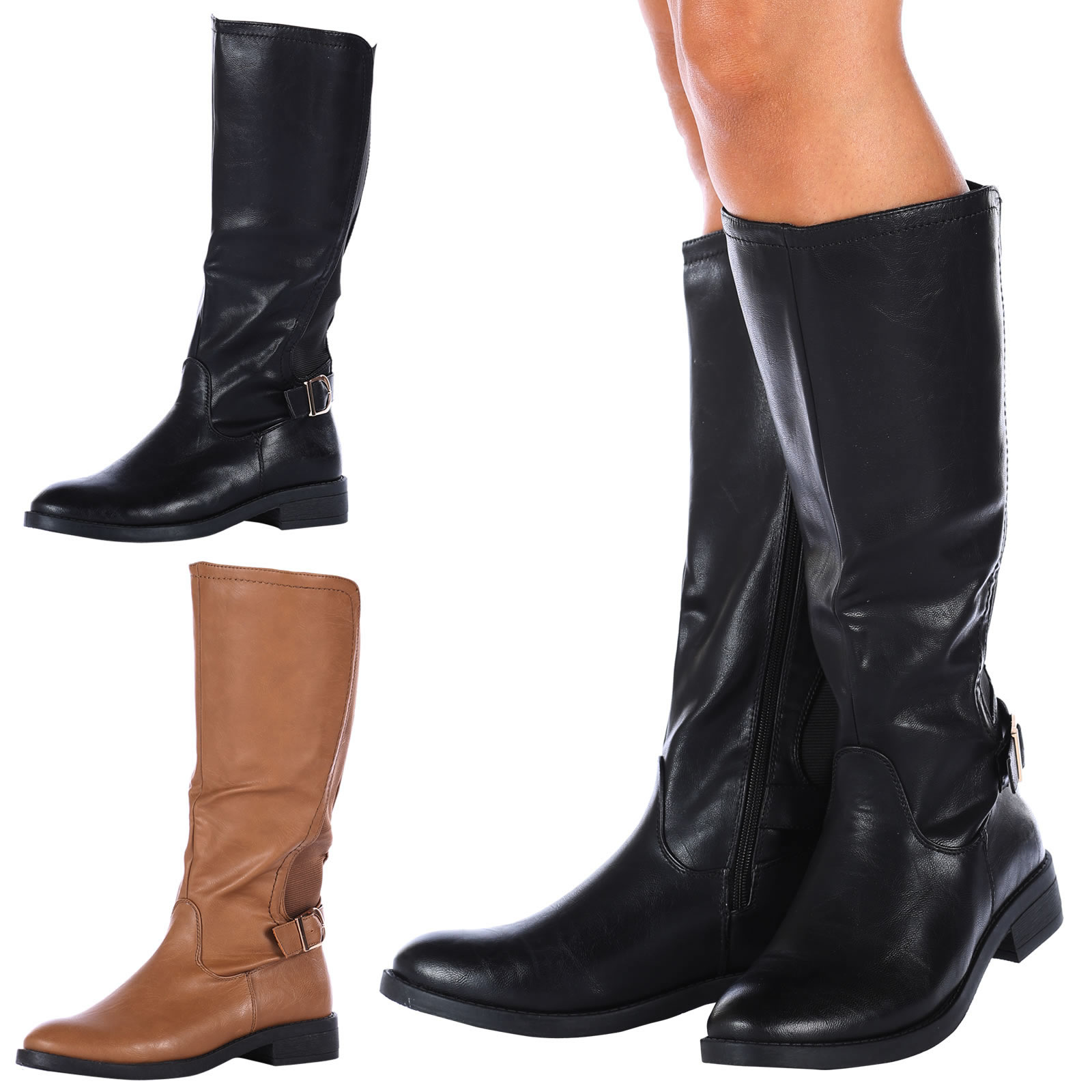 WOMENS BOOTS LADIES MID CALF FLATS WIDE STRETCH KNEE HIGH ...
