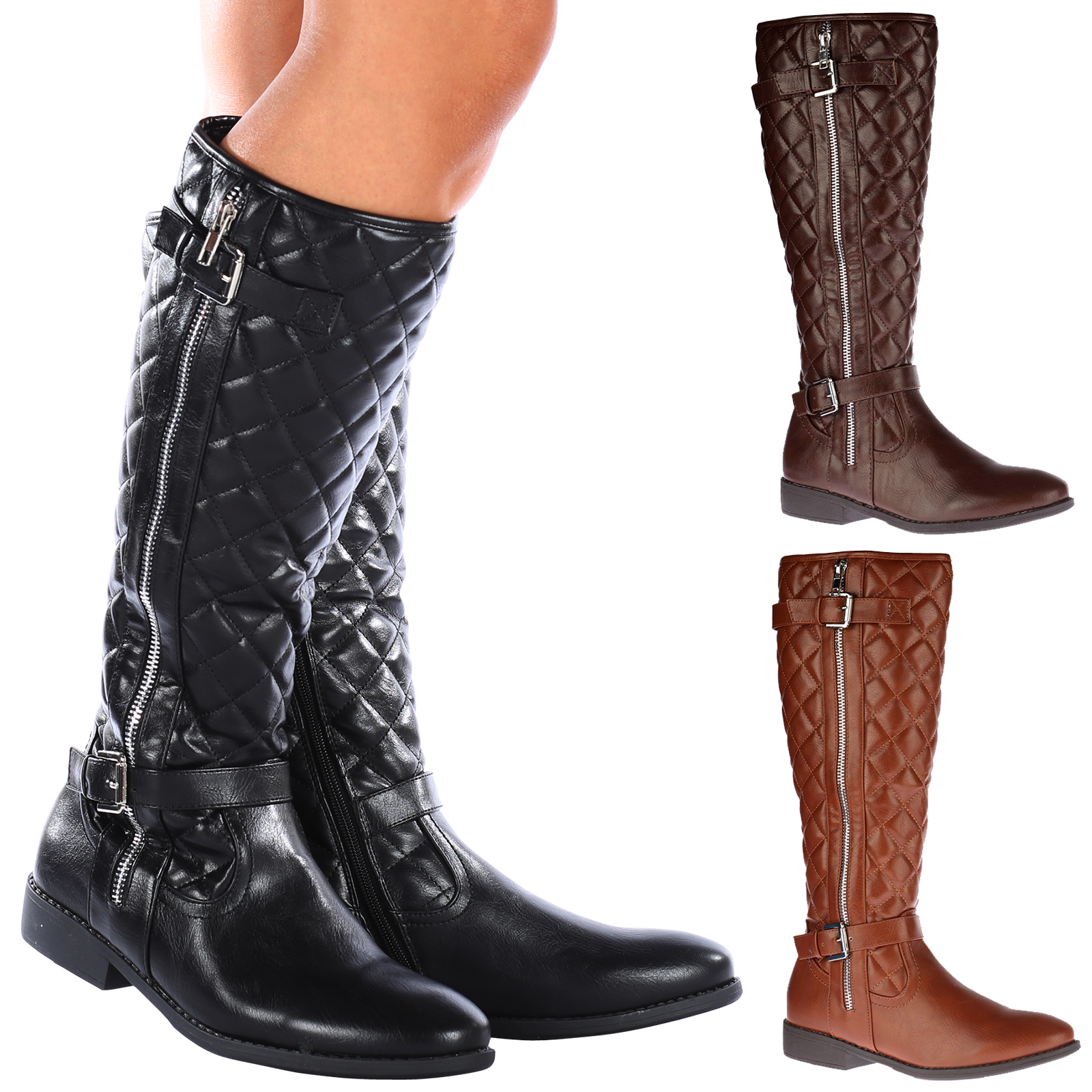 aimee womens knee high quilted zip up mid calf
