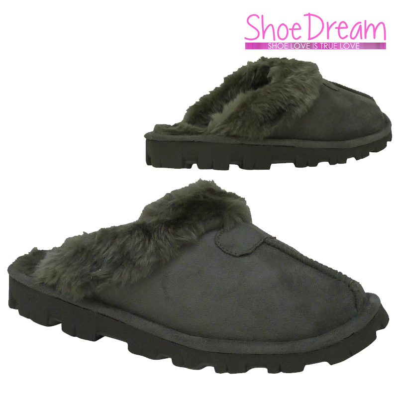 g1a new grey fur lined slip on warm winter slippers
