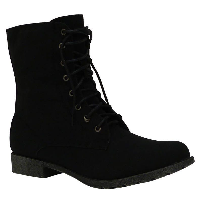 A6L Ladies Black Lace Up Army Military Flat Stylish Ankle Boots ...