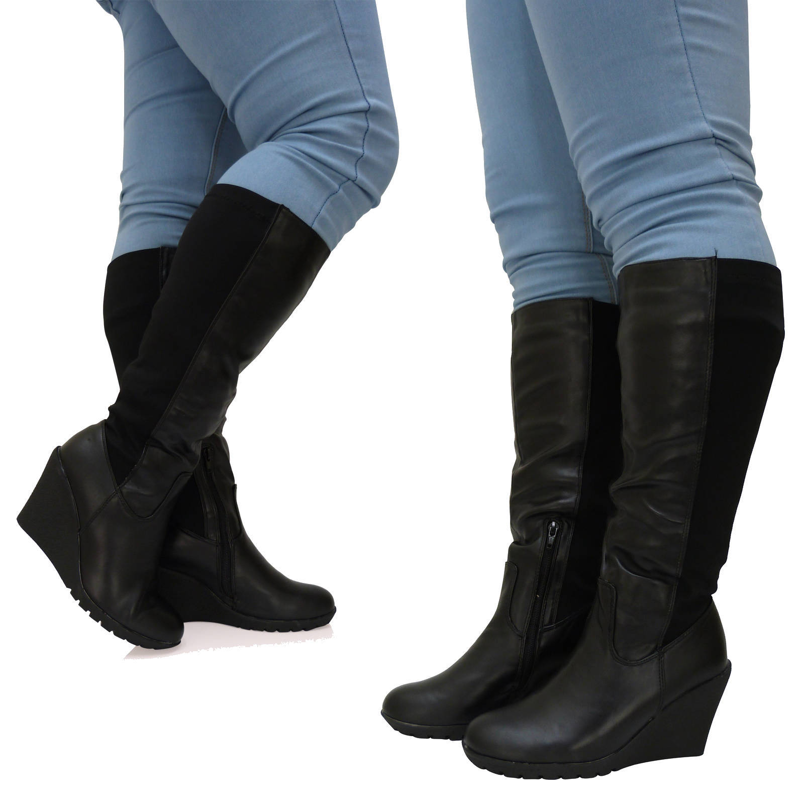 womens wide calf fit wedge zip up elasticated