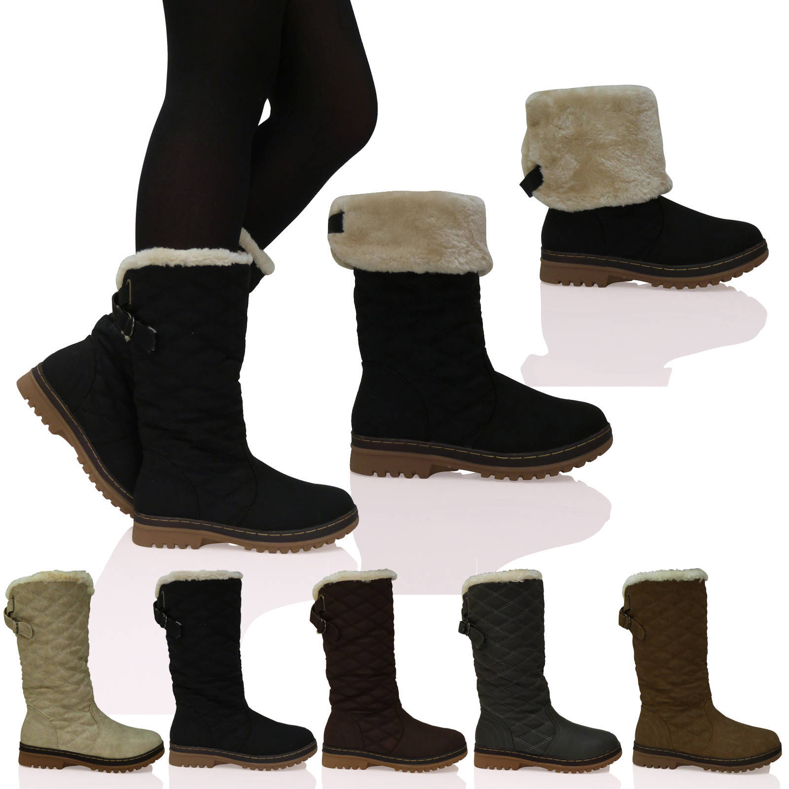 New Womens Ladies Quilted Faux Fur Lined Thick Sole Mid Calf Boots Shoes Size