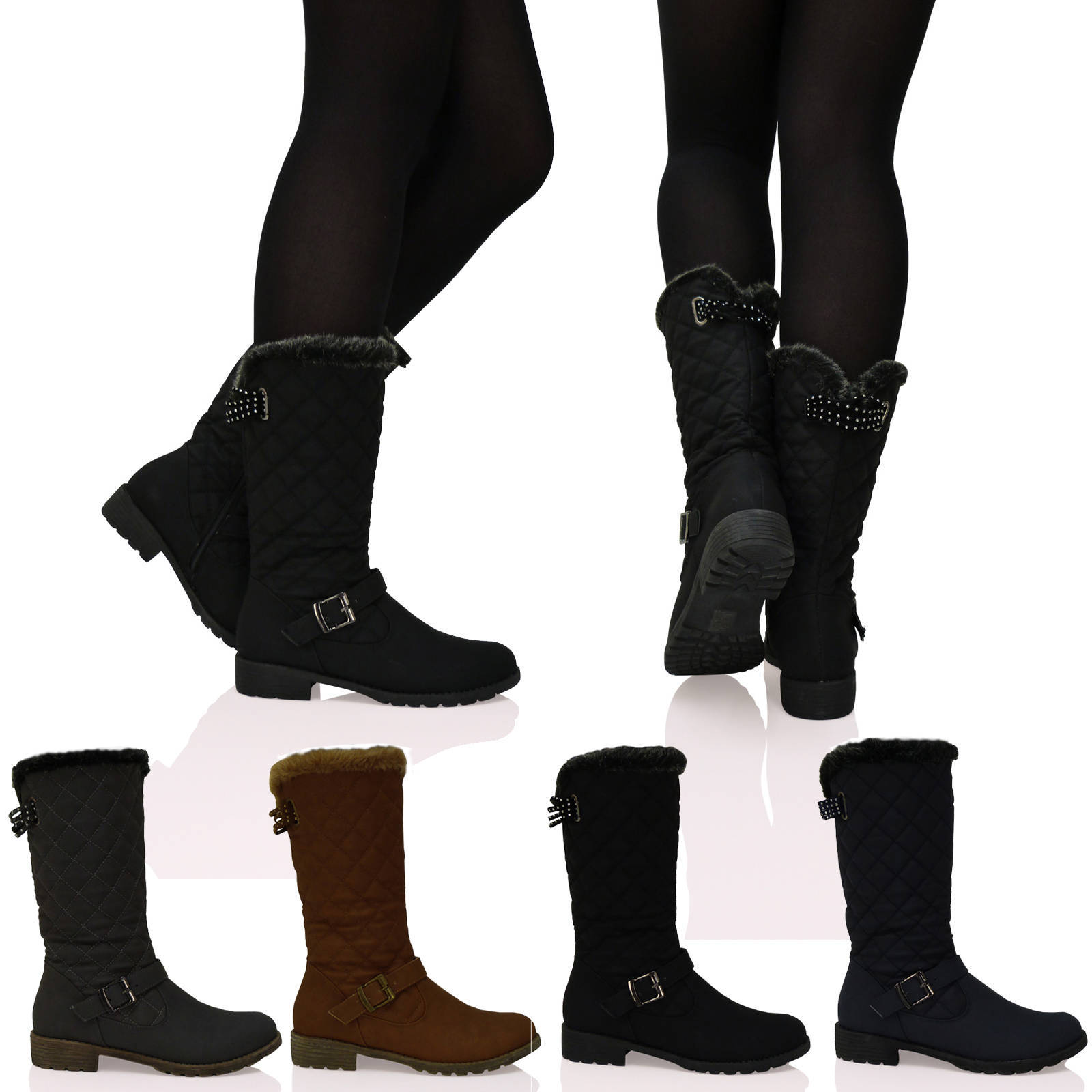 New Ladies Quilted Mid-Calf Buckle Faux Fur Lined Womens Winter Boots Shoes Size