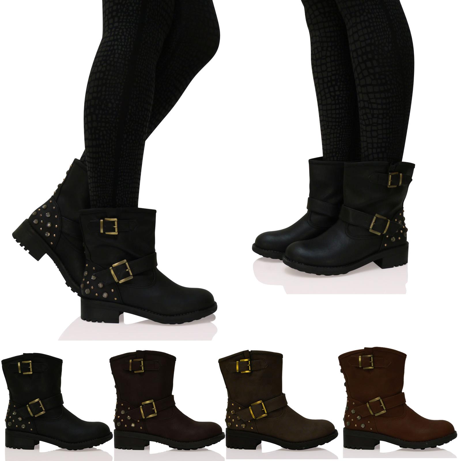 damen boots flach biker kn chelhoch nieten verziert. Black Bedroom Furniture Sets. Home Design Ideas