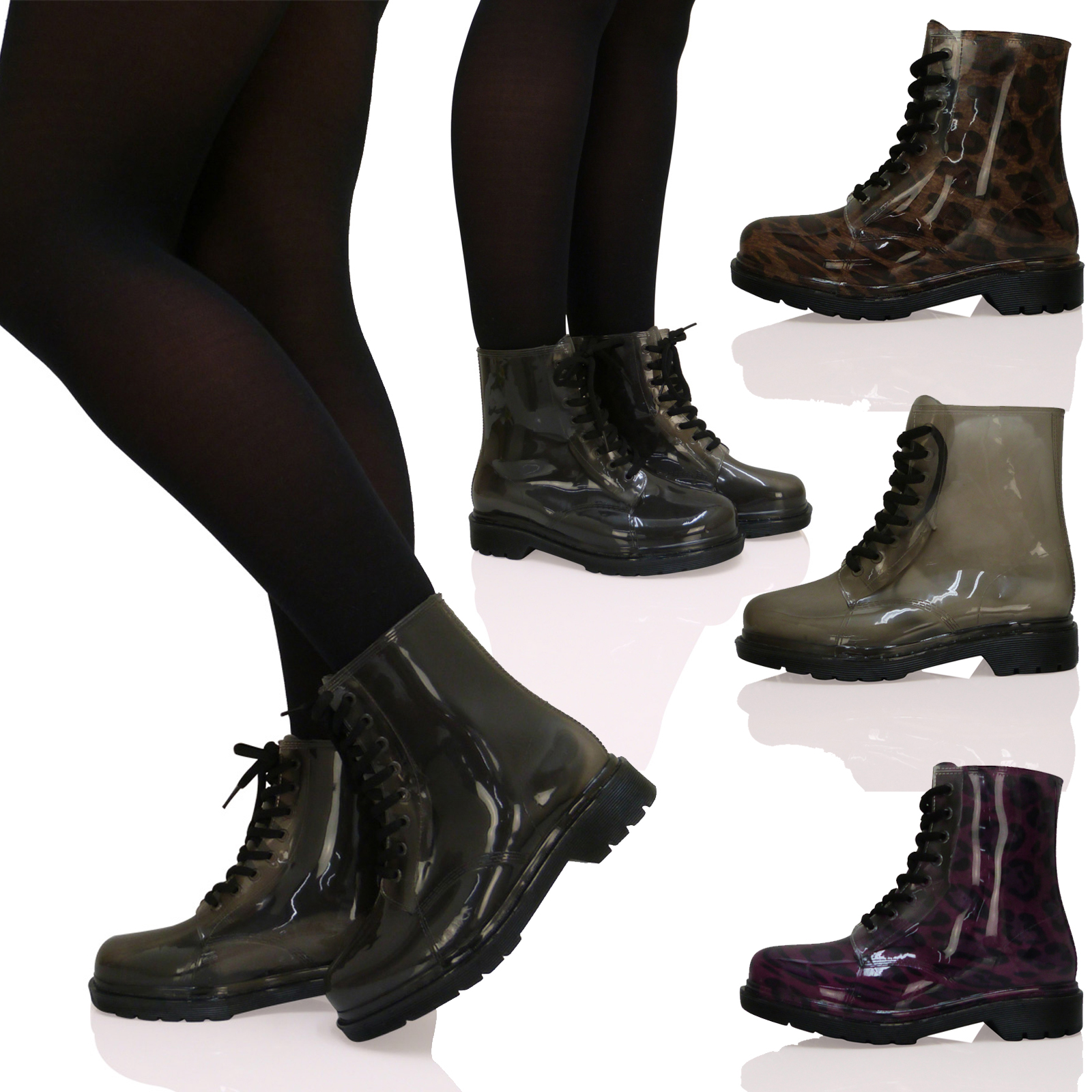 womens lace up retro funky jelly combat vintage