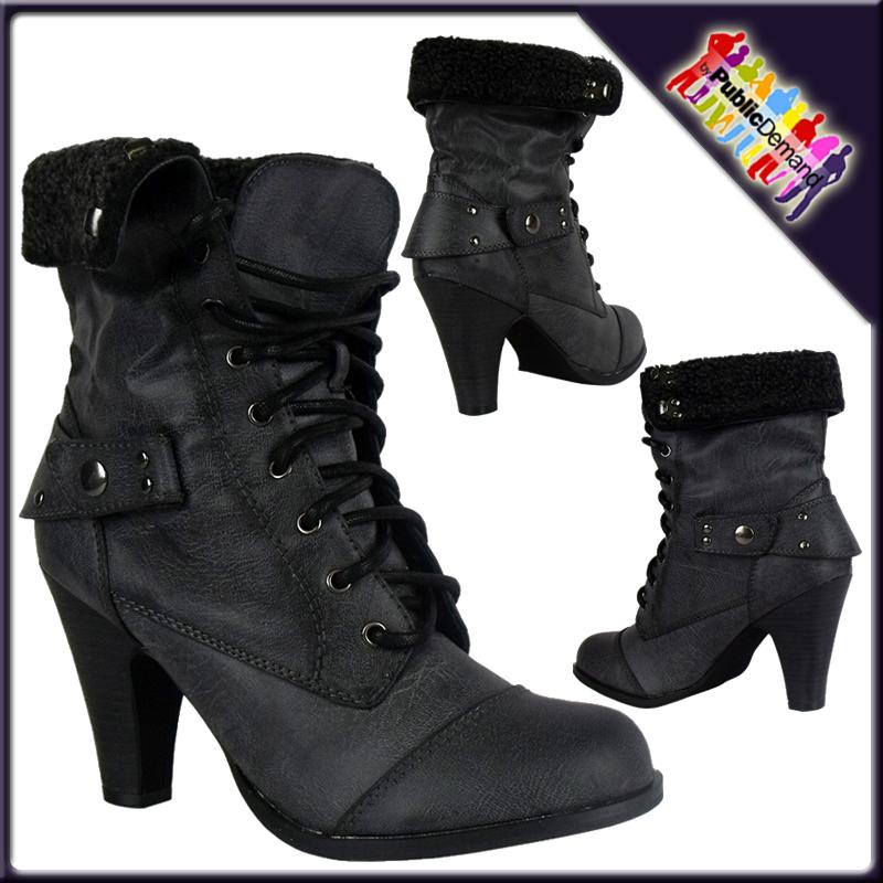Damen-Stiefel-Pumps-Schnuer-Schuh-Militaer-Combat-Boots-Schwarz ...