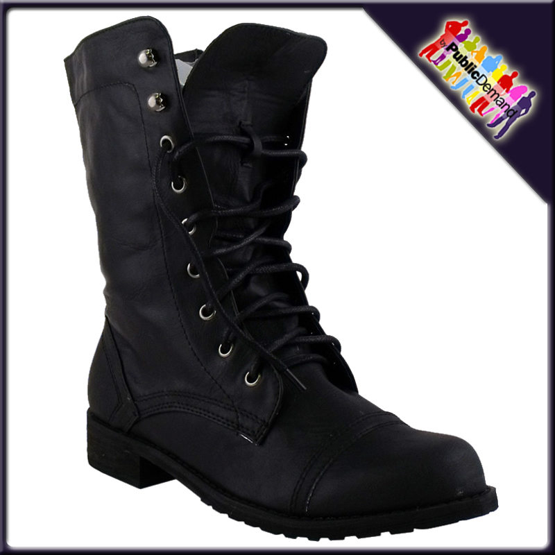 Popular Women Black Combat Boots  Boot Yc