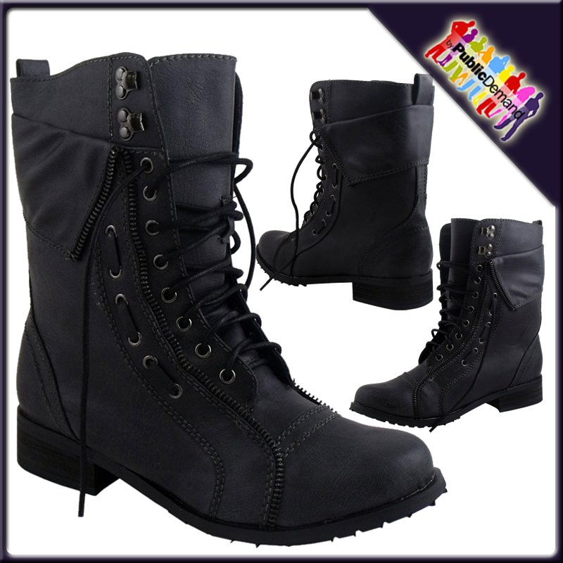 LADIES-DIRTY-BLACK-LACE-UP-FLAT-MILTARY-ARMY-BOOTS-3-8