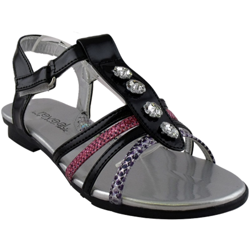 GIRLS-BLACK-MULTI-STRAP-VELCRO-GLADIATOR-SANDALS-S-10-1