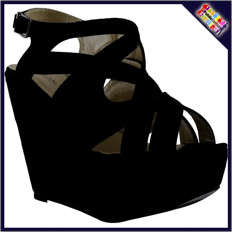 W1-Ladies-Black-Suede-Strappy-Peeptoe-Wedges-Womens-Buckle-Sandals-Shoes-Size