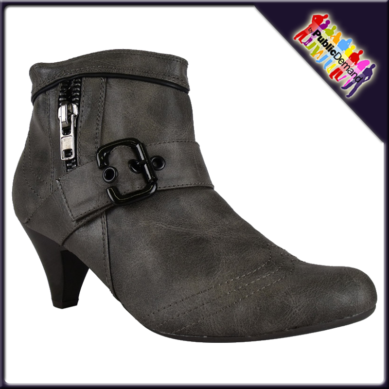 LADIES-TAUPE-ZIPPED-BUCKLE-SMALL-HEEL-ANKLE-BOOTS-S-3-8