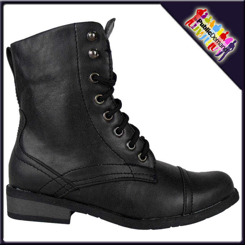 New Kids Black Lace Up Combat Military Boots Size 10 2 Ebay