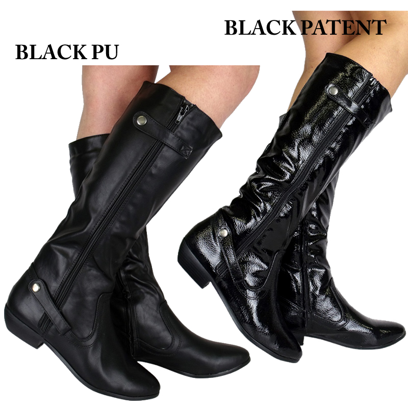 LADIES-BLACK-ZIPPED-STRAPPED-FLAT-KNEE-BOOTS-SIZE-3-8