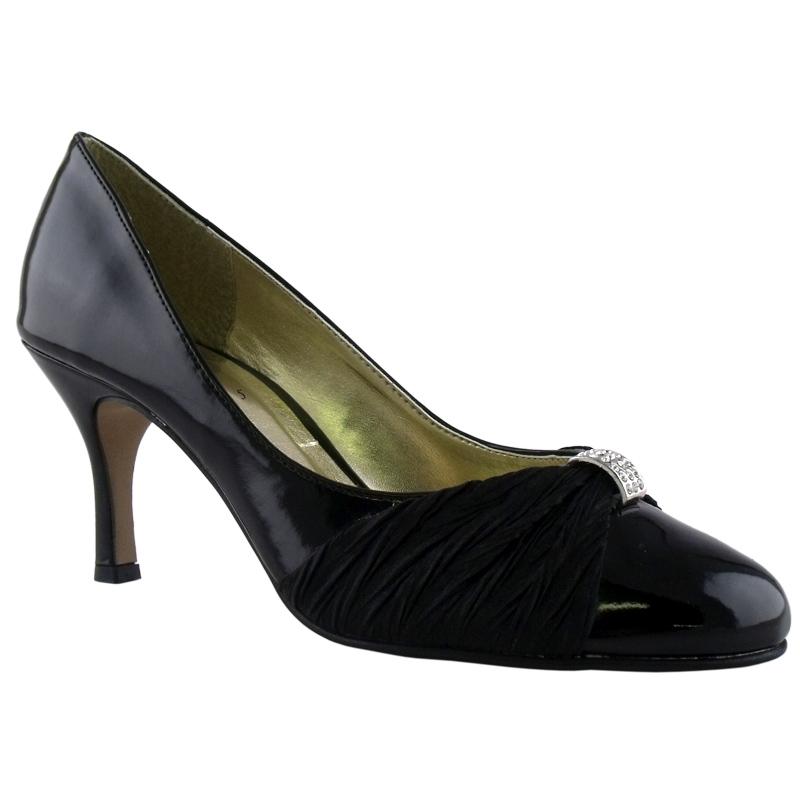 black patent mid heel evening court shoes size 6