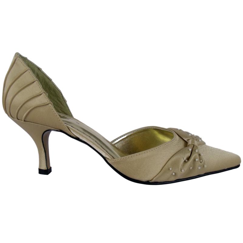 bronze satin bead bridal prom shoes size 5 ebay